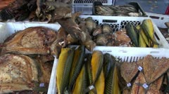 Smoked fish in agriculture fair Stock Footage