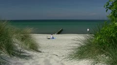 Relaxing On Beautiful Beach - Baltic Sea, Northern Germany Stock Footage