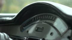 Speedometer of classic car while driving - stock footage
