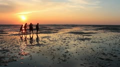 Stock Video Footage of Hiking in the mud flat