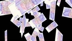 Falling money 20 pound notes with Alpha Mask - stock footage