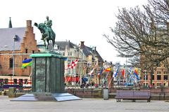 equestrian statue of king william ii, the hague. netherlands - stock photo