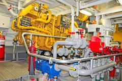 The power plant in  ship's engine room Stock Photos