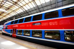 High speed train at a railway station Stock Photos