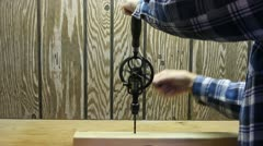 Vintage hand drill Stock Footage