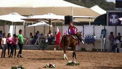 Young girls demonstrate vaulting riding on Arabian horse Stock Footage