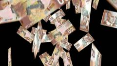 Falling money 100 Canadian notes with Alpha Mask Stock Footage