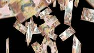 Stock Video Footage of Falling money 100 Canadian notes with Alpha Mask