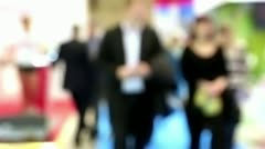 Business people in defocusing Stock Footage