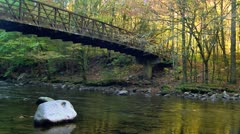Autumn river bridge tennessee mountains Stock Footage