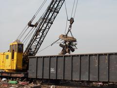 Junk yard crane Stock Photos