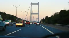 Speeding up on the cable bridge. Timelapse Stock Footage