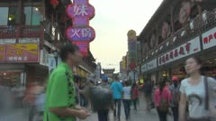 Timelapse Nanjing shopping street crowded Nanjing China tourism attraction day Stock Footage