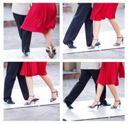 Kollaasi pari tanssi tangoa kaduilla Buenos Aires Kuvituskuvat