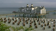 Victorian Style Pier in Sellin on Rügen Island - Baltic Sea, Northern Germany Stock Footage