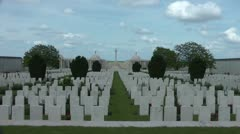 Dud Corner Cemetery on the Great War battlefield at Loos wide shot Stock Footage