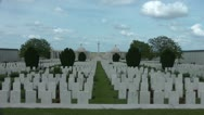 Stock Video Footage of Dud Corner Cemetery on the Great War battlefield at Loos wide shot