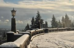 Rocky Butte in Snow Stock Photos