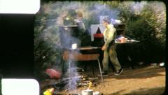 BOY CUB SCOUT Cooking Camping 1960s (Vintage Retro Old Film Home Movie) 5302 Stock Footage