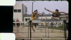 ATHLETES JUMP HURTLES Track Meet 1970 (Vintage Film Home Movie) 5303 Stock Footage