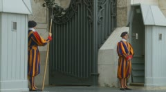 Two Swiss guards at St Peters Stock Footage