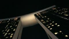 Marina Bay Sands Crane Shot Over Singapore Flyer Stock Footage
