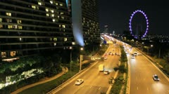 Singapore Flyer and Marina Bay Sands Stock Footage