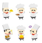 Chef set group Stock Illustration