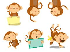 monkey set - stock illustration