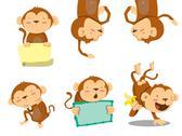 Monkey set Stock Illustration