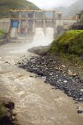 Hydroelectric dam on the rio pastaza, ecuador Stock Photos