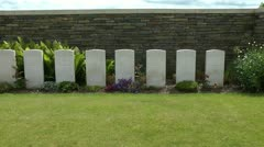 Row of gravestones unknown soldiers of First World War, Known Unto God. Stock Footage
