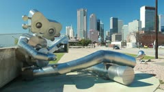 "Dallas Skyline Public Art ""Guitar Man"" Stock Footage"