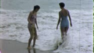 Stock Video Footage of BEST FRIENDS Women Ocean Beach 1955 (Vintage Old Film Home Movie) 5311