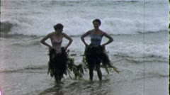 SEAWEED HULA GIRLS Dance Ocean Beach 1960s Vintage Film Home Movie 5313 - stock footage
