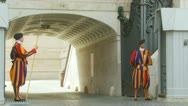Two Swiss guards at St Peters Three Stock Footage