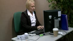 Overworked and stressed mature office worker Stock Footage