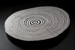 Stock Photo of sliced wood with black and white annual rings