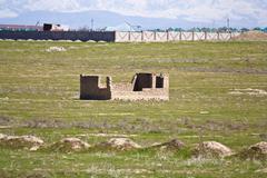 Unfinished house of adobe bricks Stock Photos