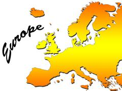 .europe map filled with orange gradient. mercator projection. Stock Illustration