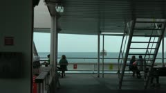 On rear deck of ferry at sea Stock Footage