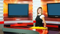 pregnant television anchorwoman at tv studio - stock photo