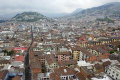 Stock Photo of view over the historic centre of quito, ecuador