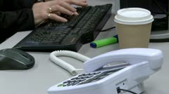Telephone answered in office Stock Footage