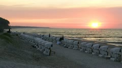 Beautiful Sunset in Heiligendamm in Mecklenburg - Baltic Sea, Northern Germany Stock Footage
