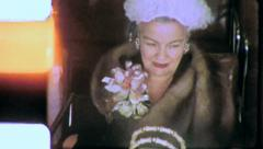 MIDDLE AGED WOMAN Furcoat Dressed Up 1960s Vintage 8mm Film Home Movie 5329 - stock footage