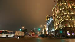 The Bund traffic and old style buildings in Shanghai, China Stock Footage