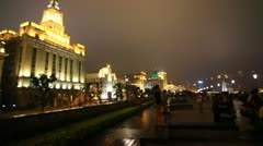 Traditional old buildings, architecture in The Bund, Shanghai, China Stock Footage