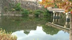 Autumn Osaka castle tilt Stock Footage
