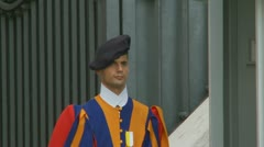 Stock Video Footage of A lone Swiss Guard